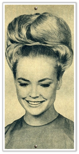 1960s bouffant hair updo tons of hair spray involved