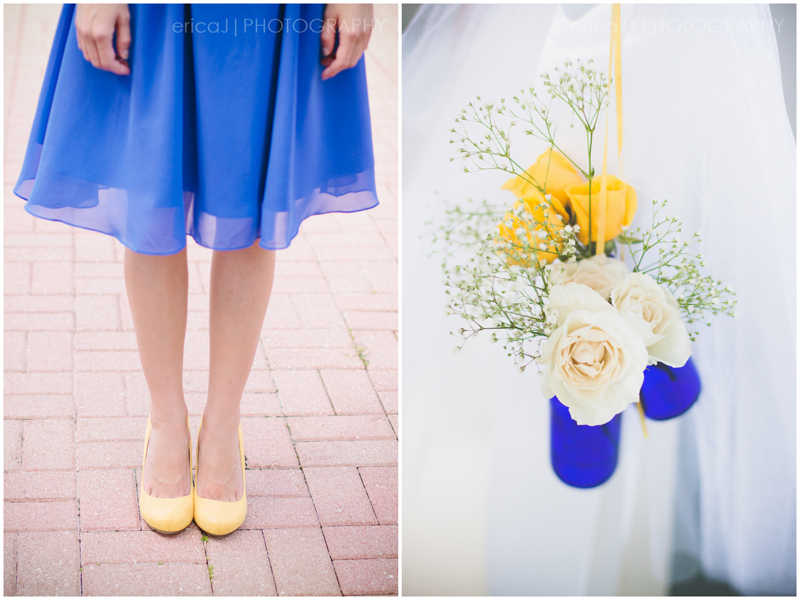 blue and yellow bridesmaid