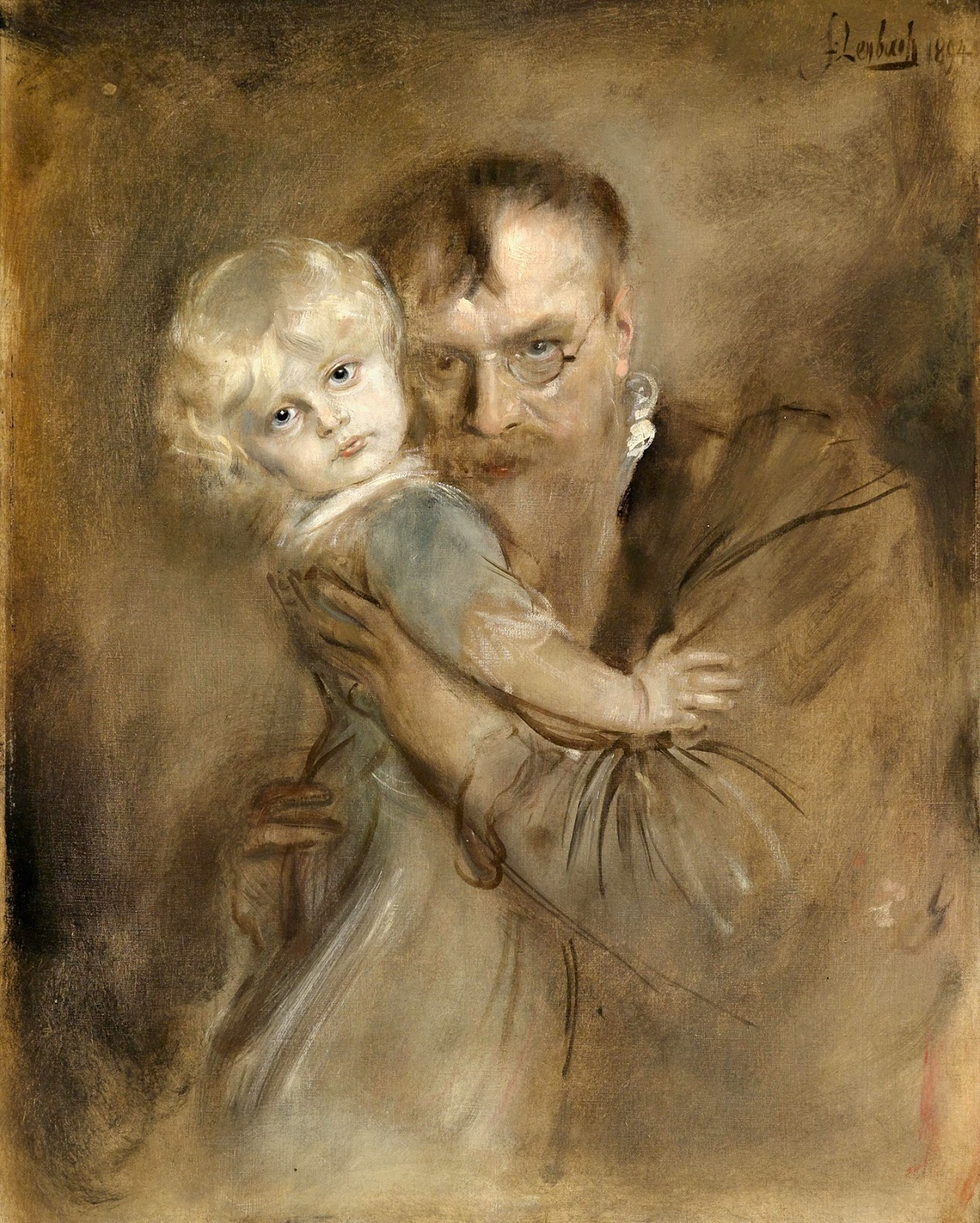 Franz  von  Lenbach  self  portrait  with  daughter  marion