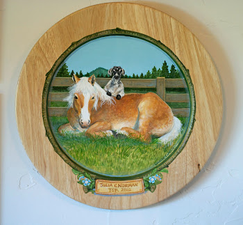 """Julia & Norman"" on teak plate"
