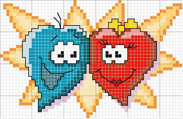 Сердечки- схемы для вышивки