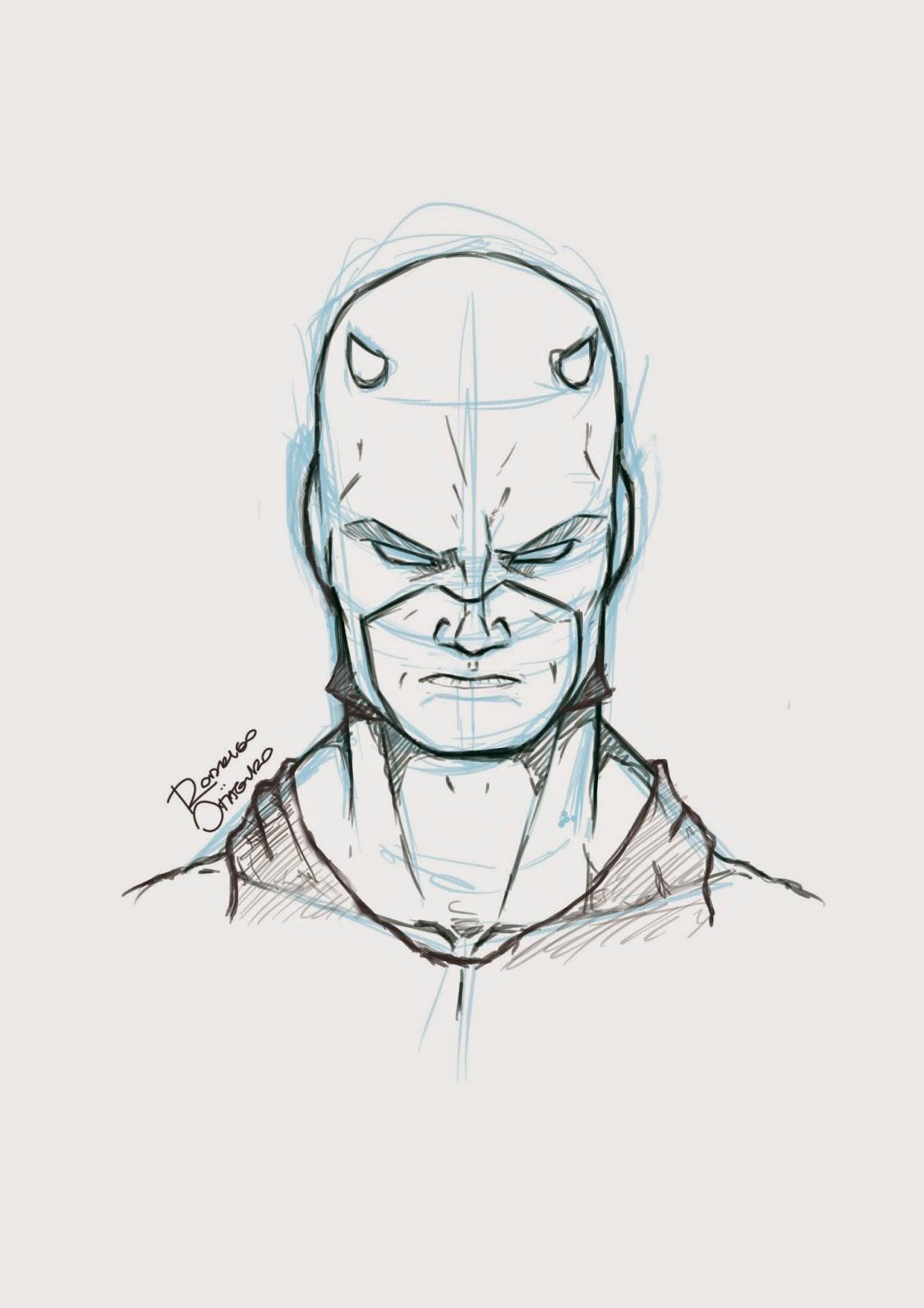 Ilustração digital do personagem Marvel, Demolidor, por Rodrigo Otäguro