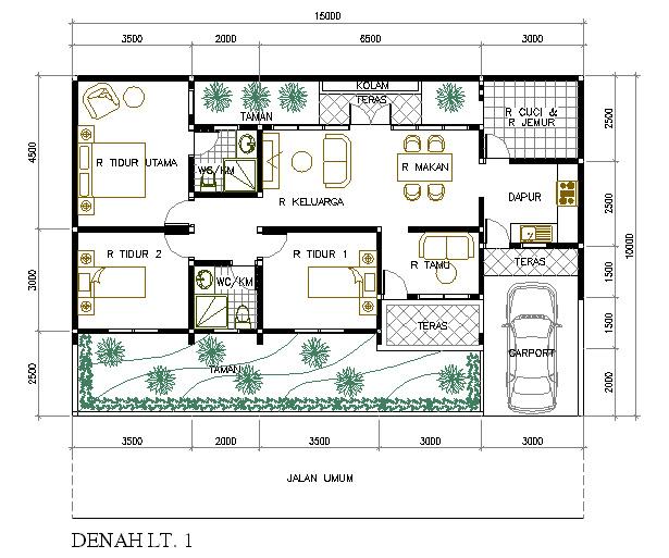 ... denah rumah minimalis ini untuk rumah 1 lantai dan 3 kamar tidur