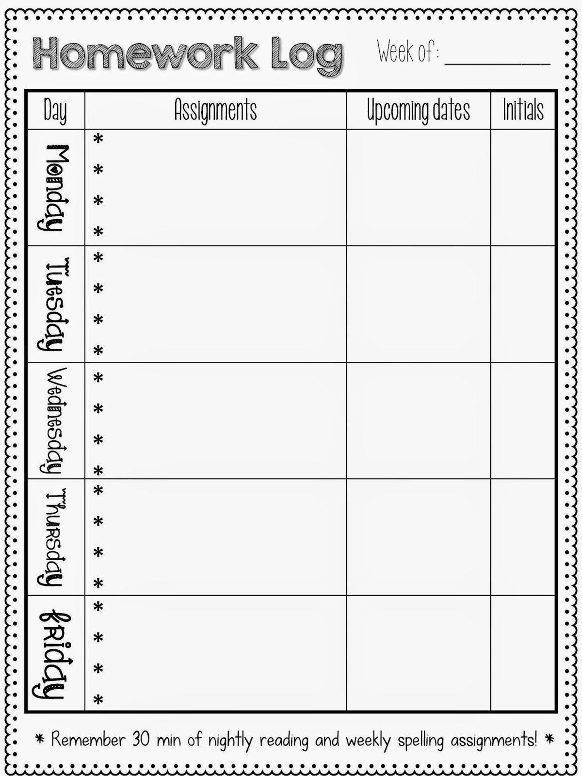 FREE Printable Homework Charts Student Assignment Sheets 3904649 ...