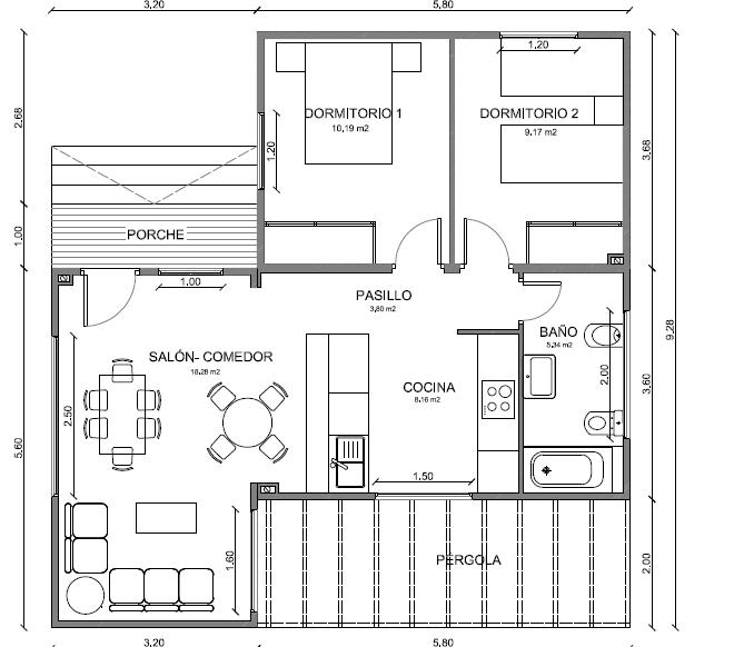 Plano Casa de Madera 79 m2  Planos de casas gratis