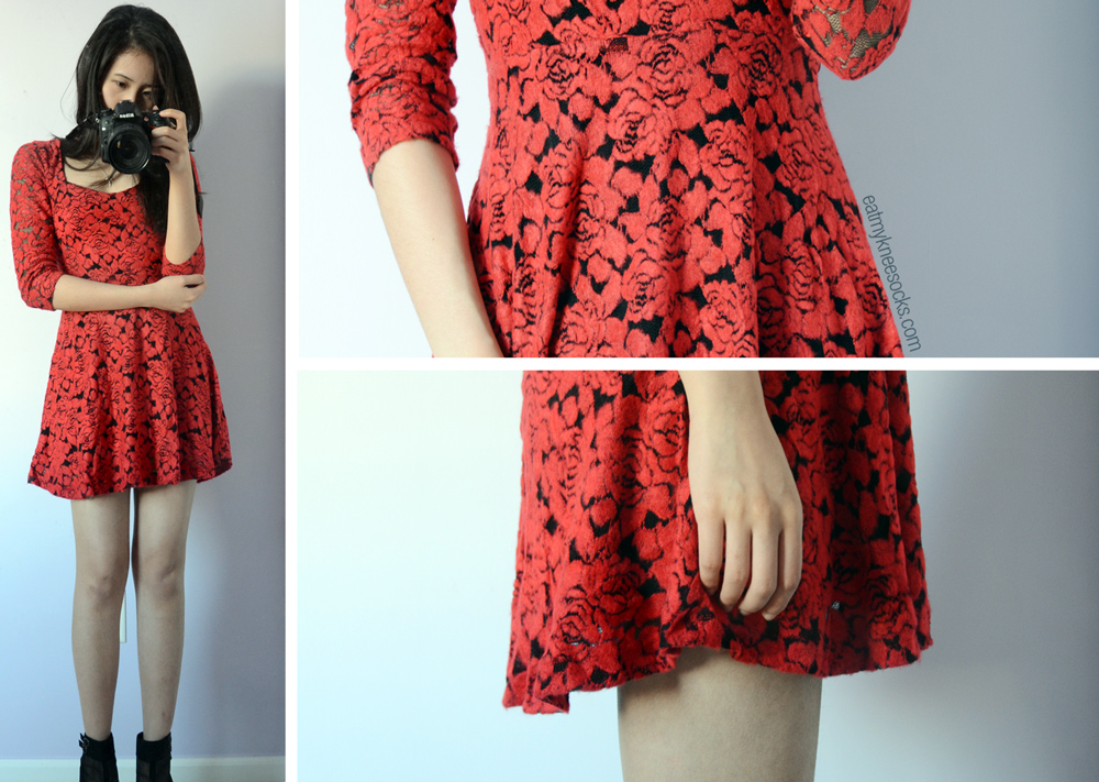 Some last photos in the red mesh skater dress from Romwe.