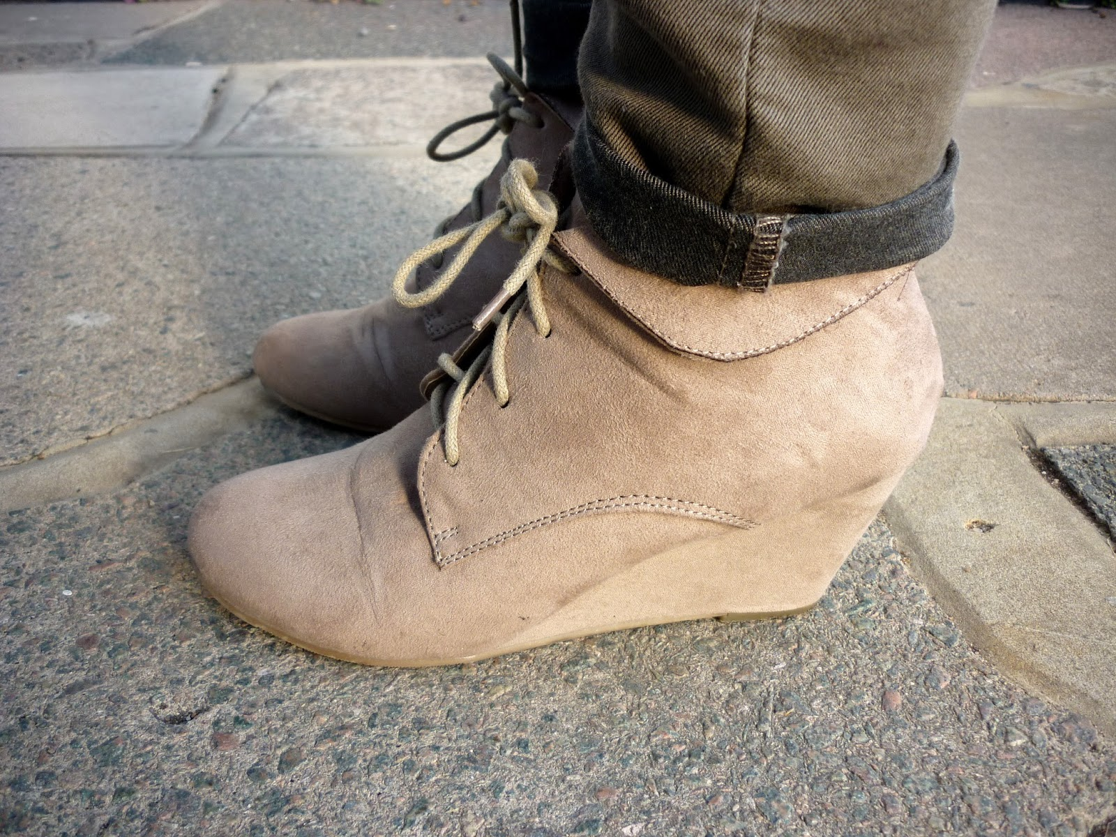 Taupe Wedge Ankle Boots | Petite Silver Vixen