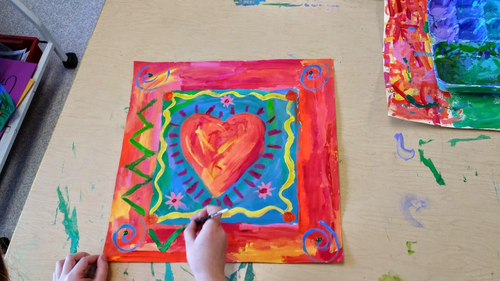 Paintbrush Rocket: Third Grade Peter Max Hearts