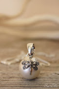 Pearl with Silver Dragonfly