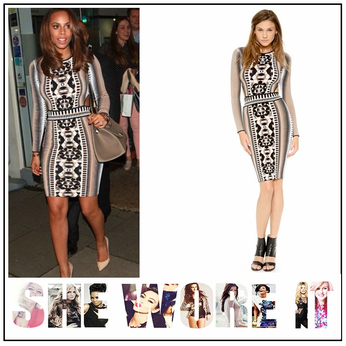 The Saturday's, Rochelle Humes, Torn by Ronny Kobo, Bodycon, Mini Dress, All Over Print, Geometric Print, Mosaic Print, Cut Out Detail, Exposed Zip,