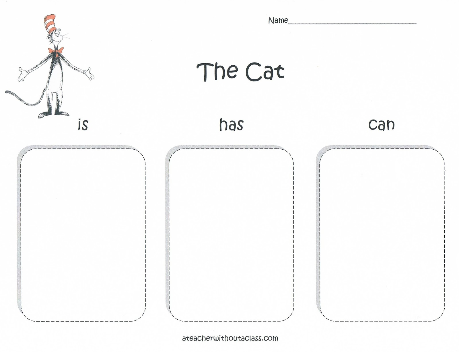 Worksheets The Cat In The Hat Worksheets a teacher without class cat in the hat graphic organizer