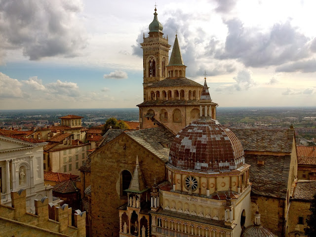 Image of Bergamo Cathedral (Duomo), Basilica di Santa Maria Maggiore and Cappella Colleoni seen from the top of Bergamo's Big Bell Tower.
