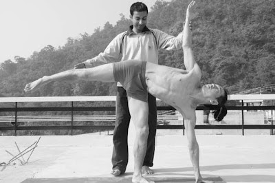 Yoga Pose Corrections being made at Tapovan Rishikesh Yoga Center Terrace