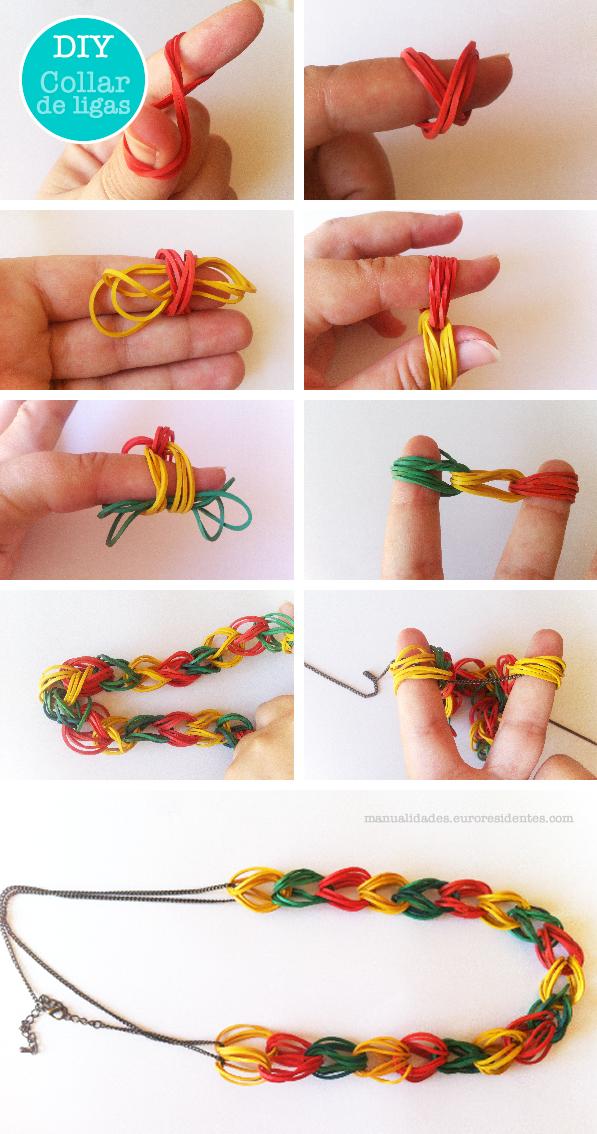 cómo hacer collar de gomas paso a paso