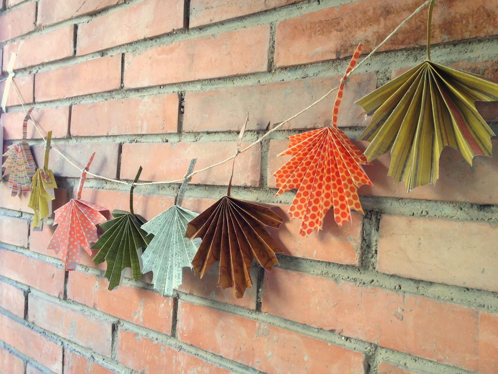 De puntadas y otros enredos tutorial express guirnalda de hojas de oto o - Hojas de otono para decorar ...