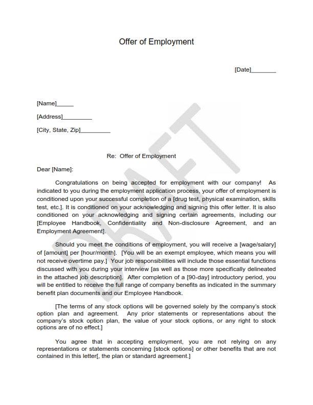Offer of Employment Letter