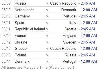 jadual perlawanan euro 2012