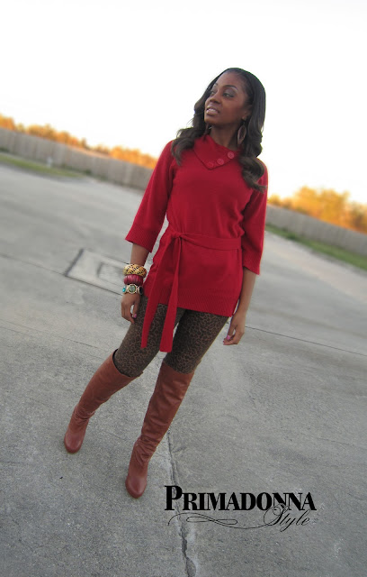 Leopard Print Pants Animal Print Pants Red Top Cognac Boots