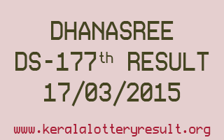 DHANASREE DS 177 Lottery Result 17-3-2015