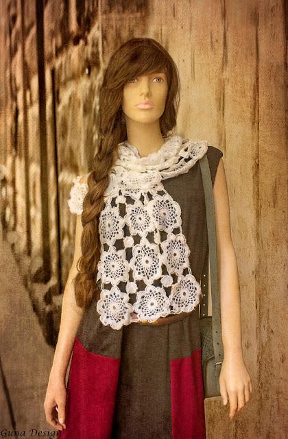White crochet lace scarf guna design guna andersone