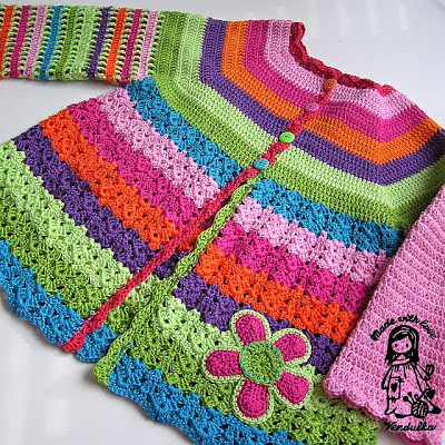 Crochet flower cardigan, free crochet pattern, Vendula Maderska Design. Magic with hook and needles, VendulkaM