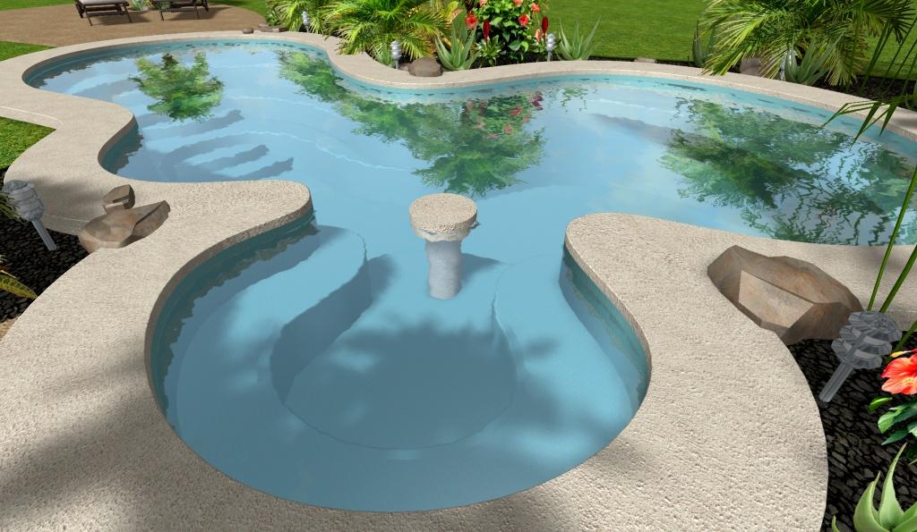 diseño 3D de piscina con gradas ligeras, meseta y asientos