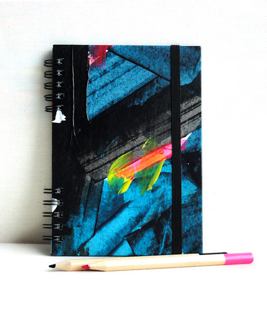 Blue & Black notebook A6. Handbound notebook. Handpainted notebook. Blue Stationery