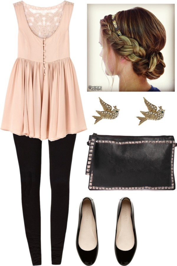 Light pink short gown, swallow eartops, black pants, black hand bag and shoes