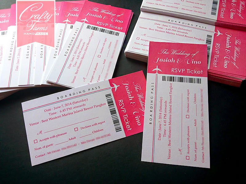 hot pink malay kad kahwin boarding pass wedding card