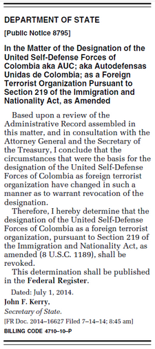 EEUU retiró de la lista de organizaciones terroristas a las AUC