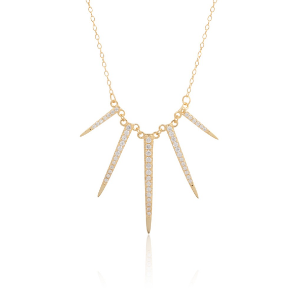 SILVER 14K GOLD PLATED SPIKE CZ NECKLACE