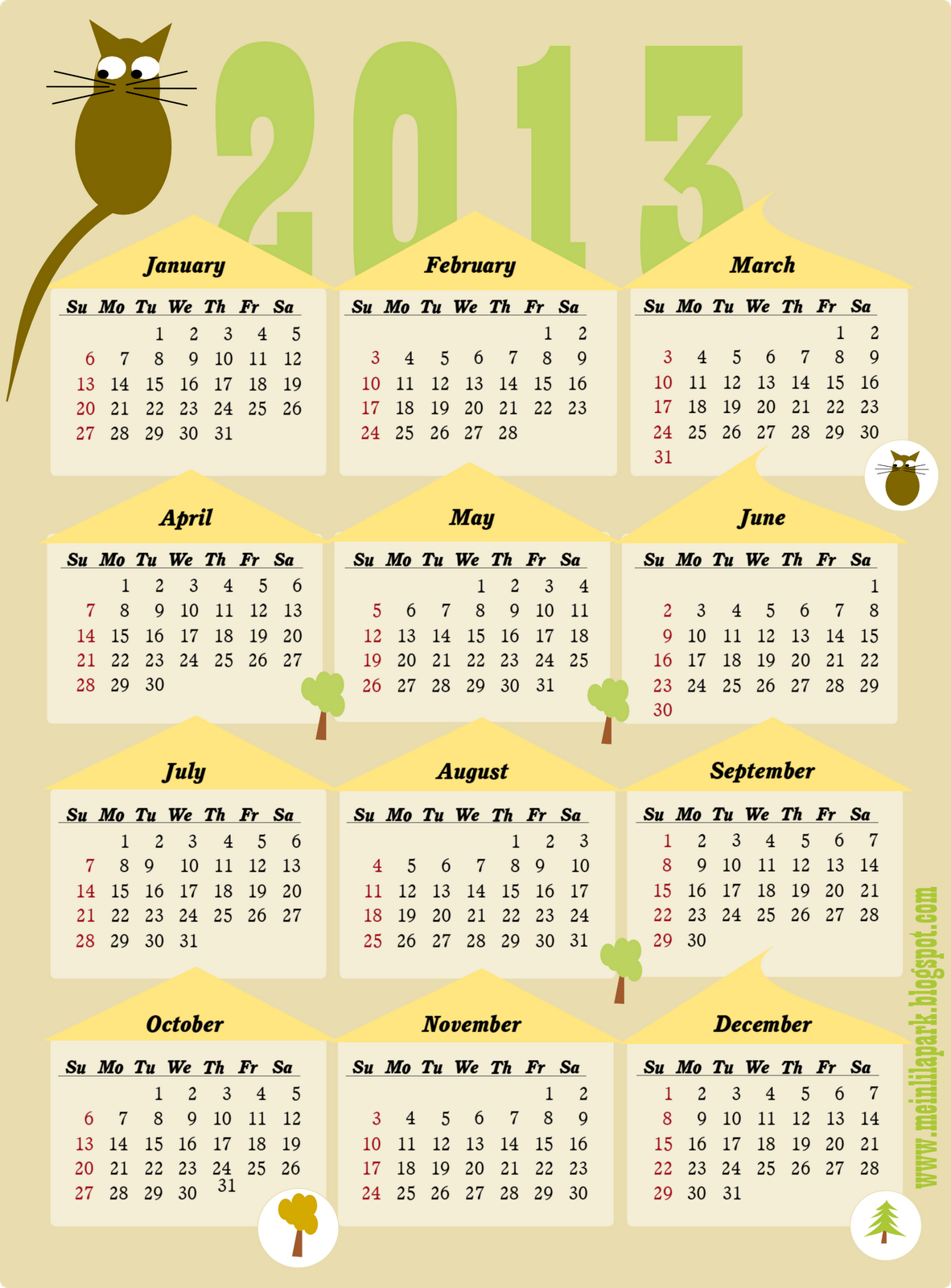 Calendar with Federal Holidays & Excel/PDF/Word templates