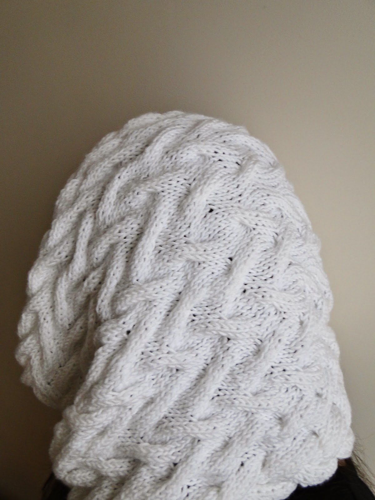 Cabled Cowl Knitting Pattern : 3 Rabbits Patterns: White Cabled Cowl Knitting Pattern