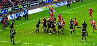 Rugby, Lineout, Scarlets, Ospreys, Derby, Pro 12, Wales, Welsh, Parc Y Scarlets