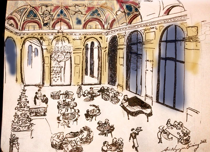 Parizsi Nagy Aruhaz, Lotz-terem Lotz Hall Bookcafé ink drawing