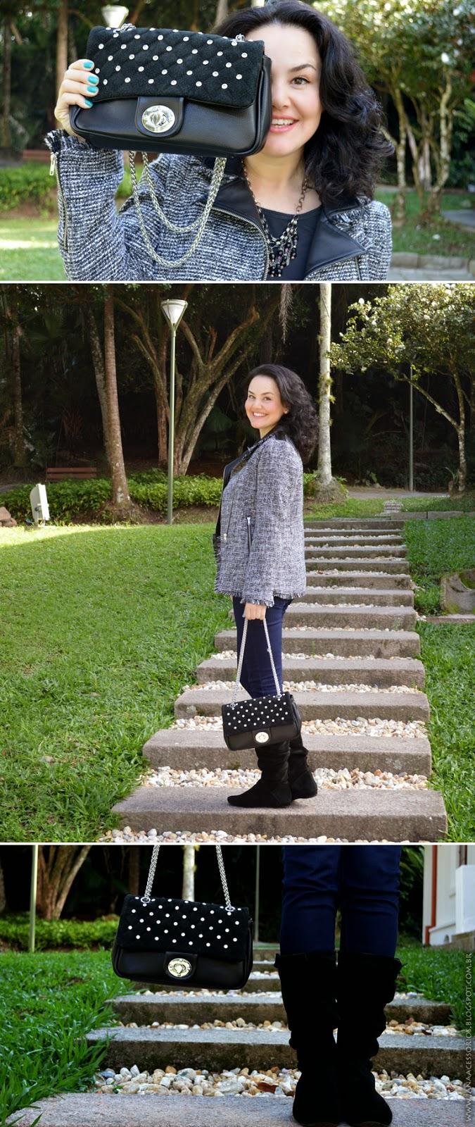 Blog de acessórios, Blogueira, blogger, joinville, renner, Arezzo, Jana Acessórios, Acessórios, Look da Jana - Mix de textura e materiais.