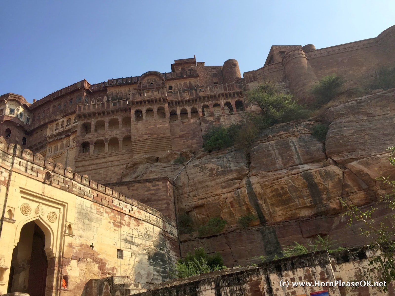 A view of Mehrangarh Fort from one of its 7 gates