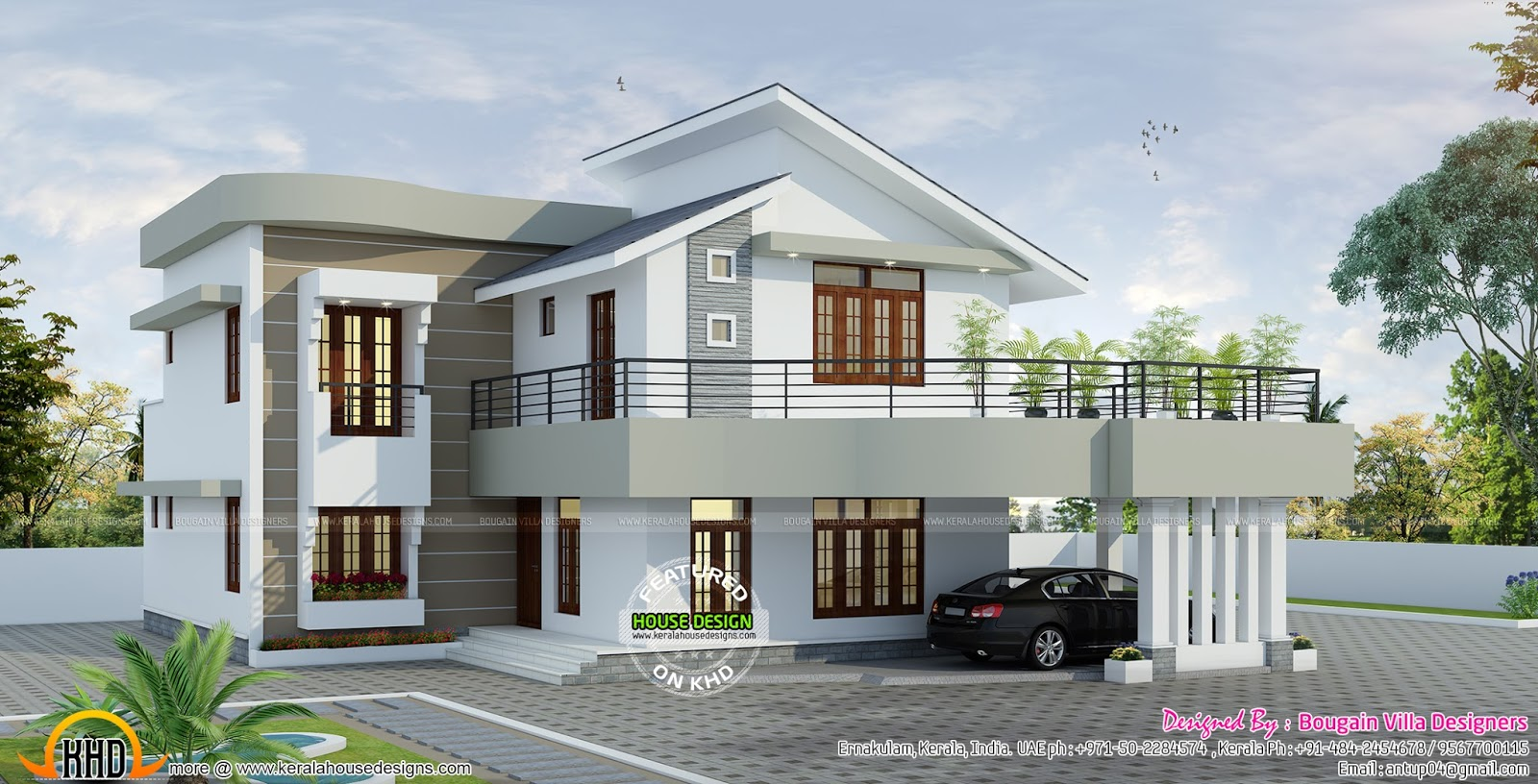 Spacious contemporary style home kerala home design and for Simple kerala home designs