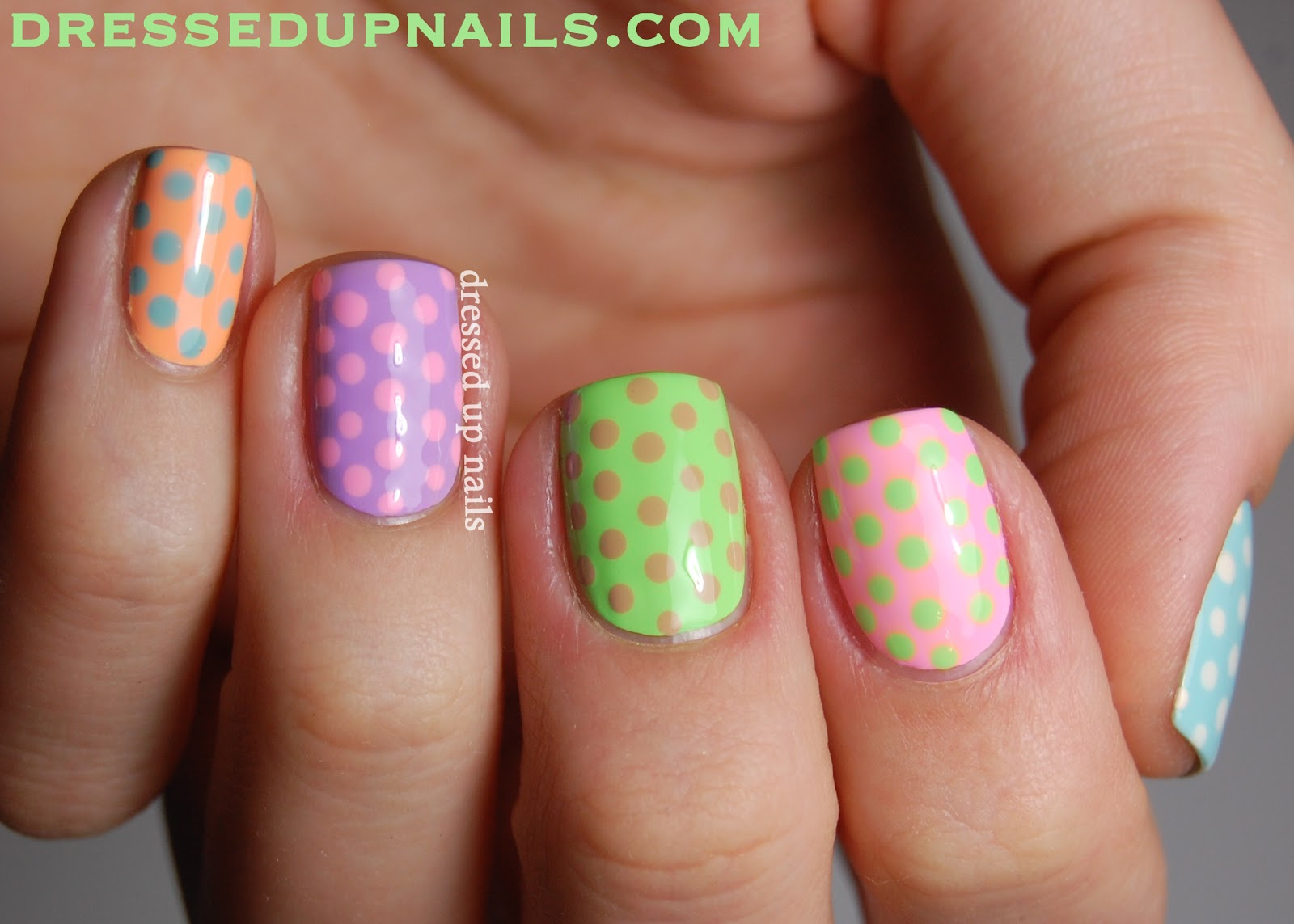 Dressed Up Nails - pastel skittle nail art with Lime Crime polishes
