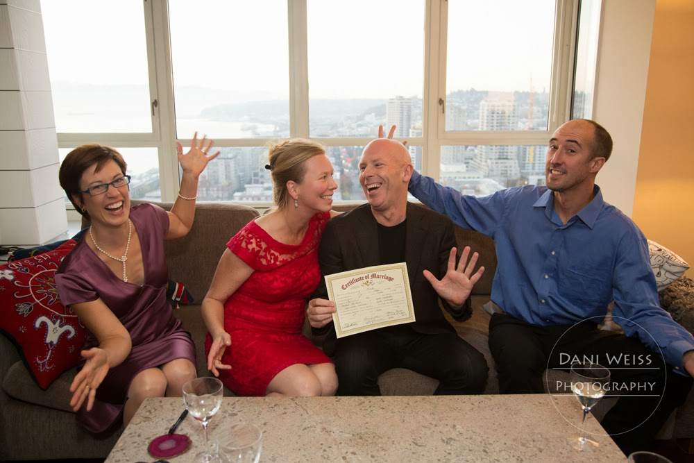 Yes, everyone is happy Chris and Ulrica are wed!  Ceremony officiated by Patricia Stimac, Seattle Wedding Officiant
