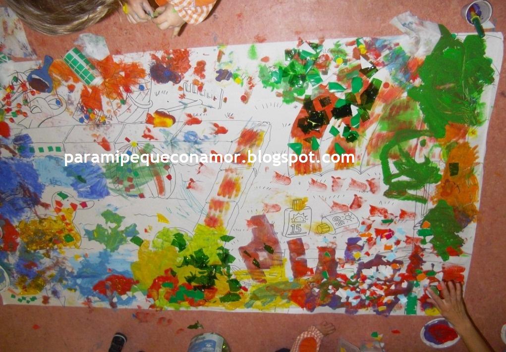 Para mi peque con amor mural familiar en la escuela infantil for Materiales para pintar un mural