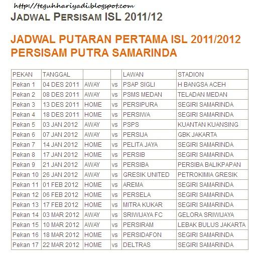 Jadwal Pertandingan Persisam Di ISL 2011-2012