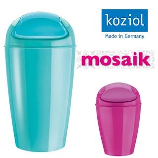 Sopkorgar från Koziol i turkost och rosa på Mosaik i Luleå