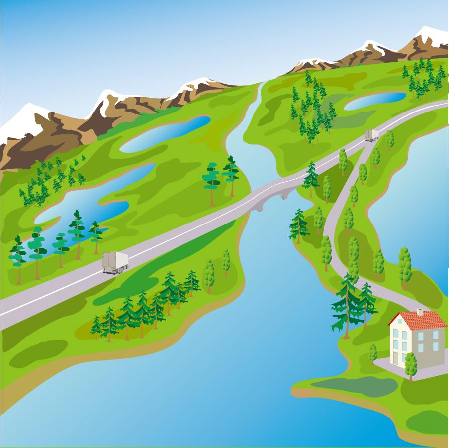 美しい水辺の風景 rivers forests landscape イラスト素材3