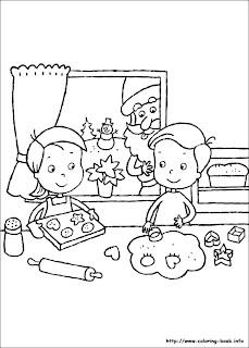 Prajituri de Craciun - plansa de colorat