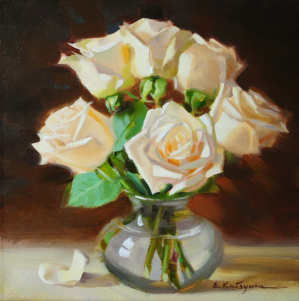White Rose Vase Oil Paintings