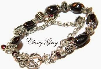 sterling silver and garnet bracelet