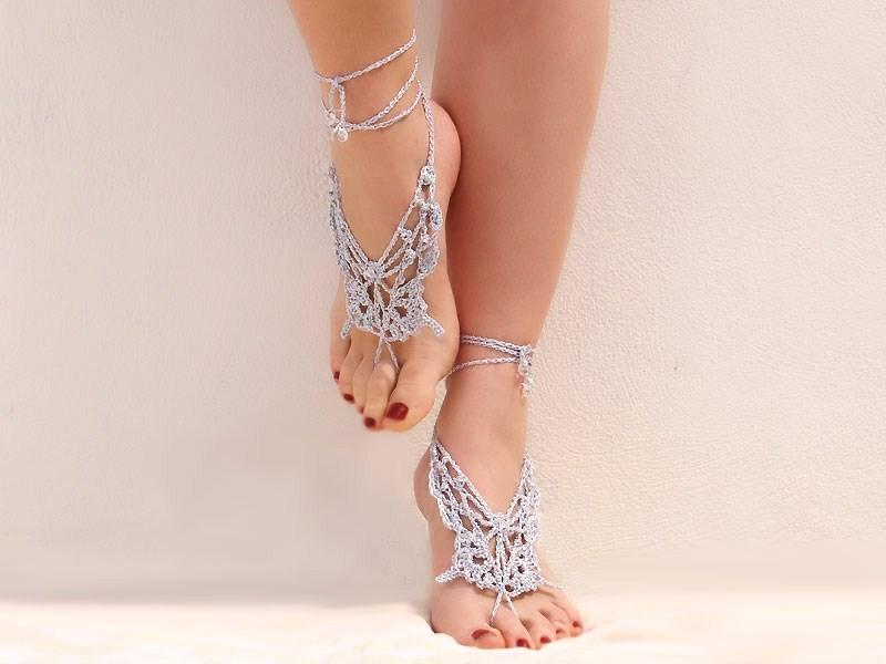 Accessory gallery crochet butterfly silver metallic barefoot sandals