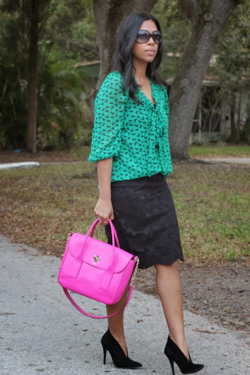 lace pencil skirt nine west castillima hot pink kate spade bag fendi sunglasses