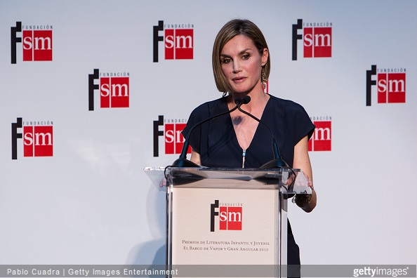 Queen Letizia of Spain speaks during the 'Barco de Vapor' and 'Gran Angular' awards ceremony on April 21, 2015 in Madrid, Spain.